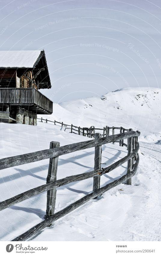 Huette Umwelt Natur Landschaft Schönes Wetter Eis Frost Schnee Alpen Berge u. Gebirge Haus Einfamilienhaus Traumhaus Hütte Bauwerk Gebäude Architektur