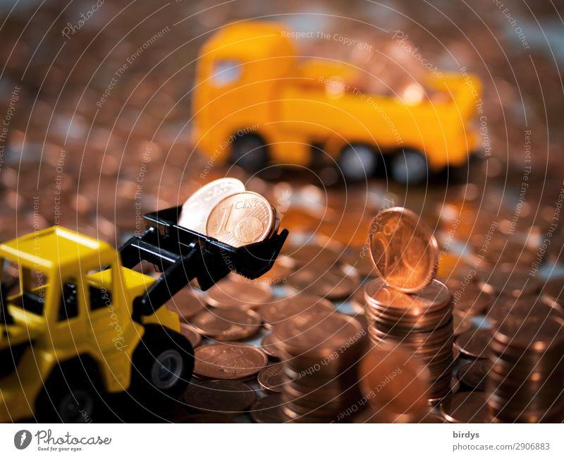 Entsorgung von 1 Cent - und 2 Centmünzen Geld Arbeitsplatz Baustelle Kapitalwirtschaft Lastwagen Radlader Zeichen Eurozeichen Geldmünzen Bewegung gelb orange