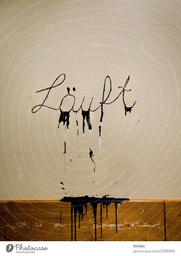 läuft doch Mauer Wand Schriftzeichen Graffiti Kommunizieren laufen authentisch frech lustig positiv braun gelb schwarz Zufriedenheit Erfolg Leben Inspiration