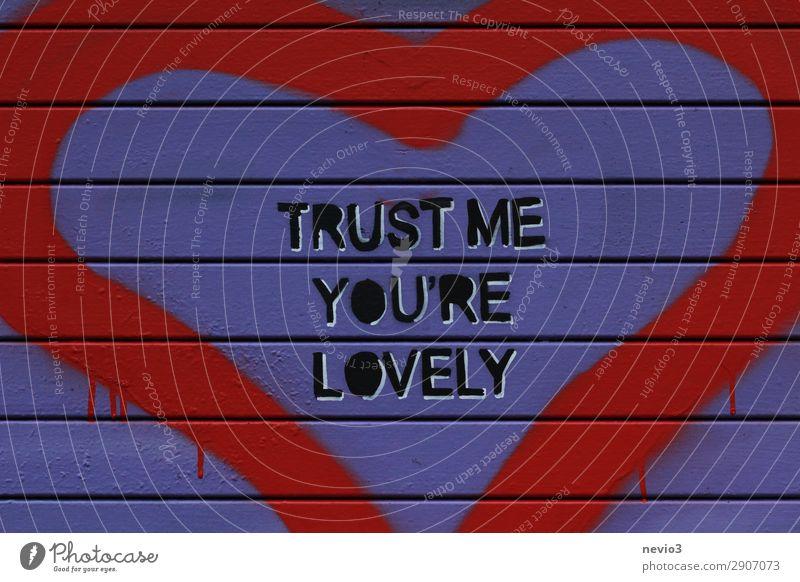 Trust me you're lovely Stadt Hauptstadt Haus Einfamilienhaus Tür schön blau rot Vertrauen Geborgenheit loyal Warmherzigkeit Sympathie Freundschaft Zusammensein