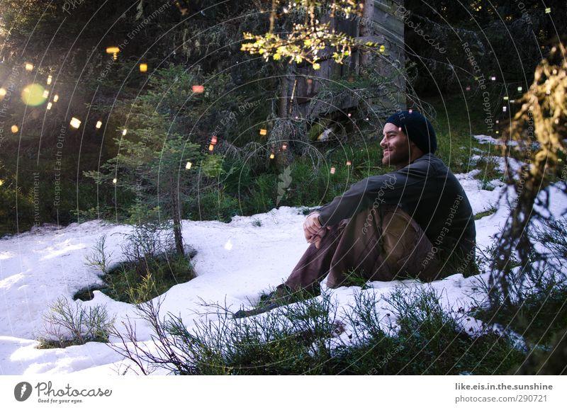 Neulich im Narnia-schrank Mensch Mann Jugendliche Pflanze Baum Sonne Winter ruhig Erholung Wald Erwachsene Schnee Junger Mann Glück 18-30 Jahre maskulin