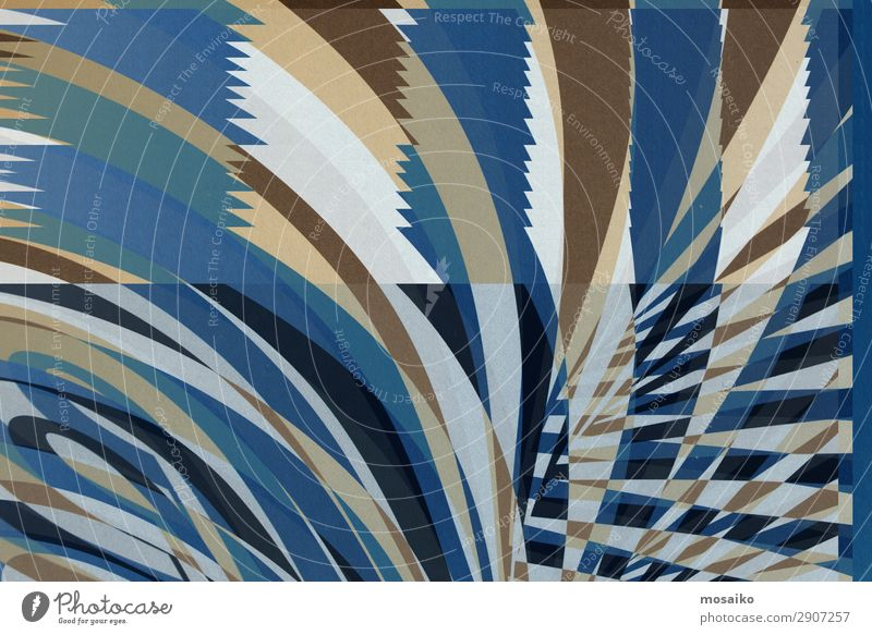 Streifen auf Papier - blau, beige, weiß Freude Hintergrundbild Lifestyle Glück Feste & Feiern Stil Kunst außergewöhnlich Party braun Design retro modern elegant