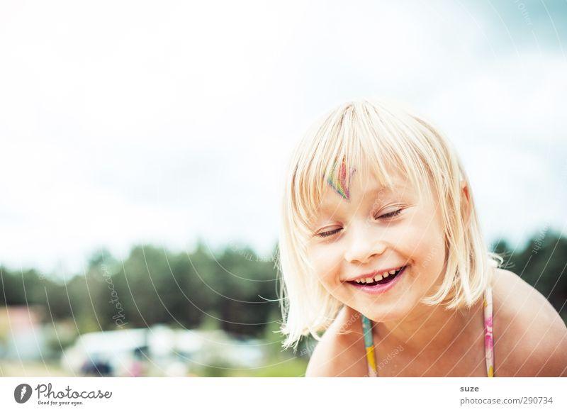 Hihihahahähähuaaa Mensch Kind schön Sommer Mädchen Gesicht feminin lachen Haare & Frisuren lustig Glück klein Kopf Kindheit blond Freizeit & Hobby