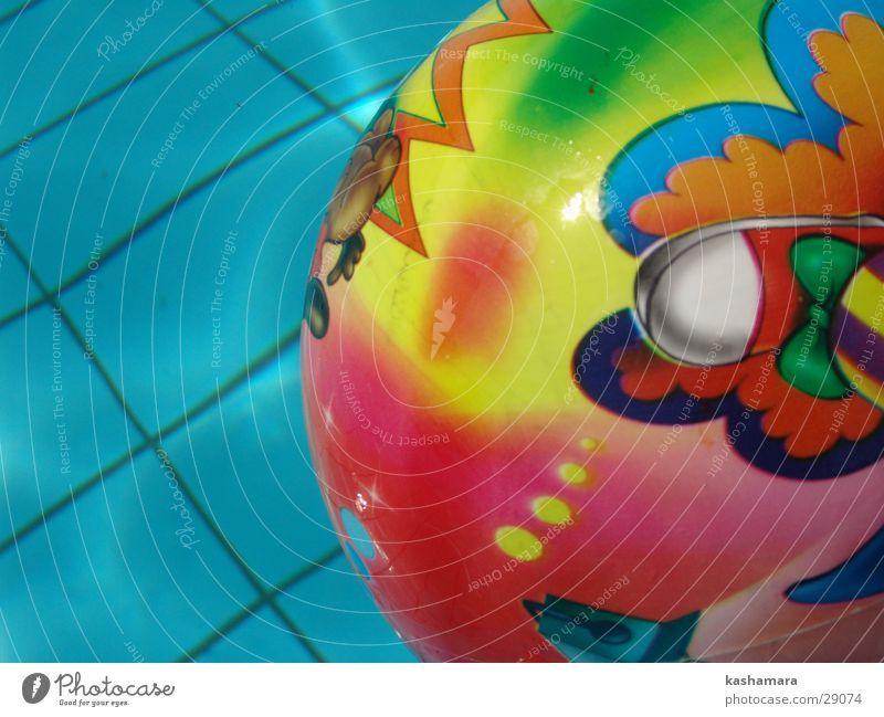 Kinderspiel Schwimmen & Baden Freizeit & Hobby Spielen Ball Schwimmbad Wasser Spielzeug nass blau Farbe Gummiball Fliesen u. Kacheln Farbfoto mehrfarbig