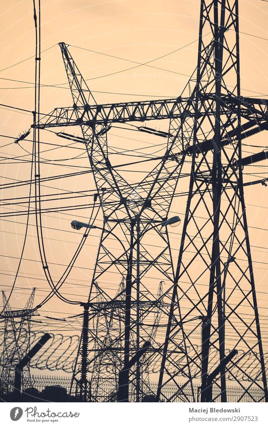 Transmissionstürme Silhouetten bei Sonnenuntergang. Industrie Kabel Technik & Technologie Energiewirtschaft Energiekrise Himmel Metall Linie Netzwerk