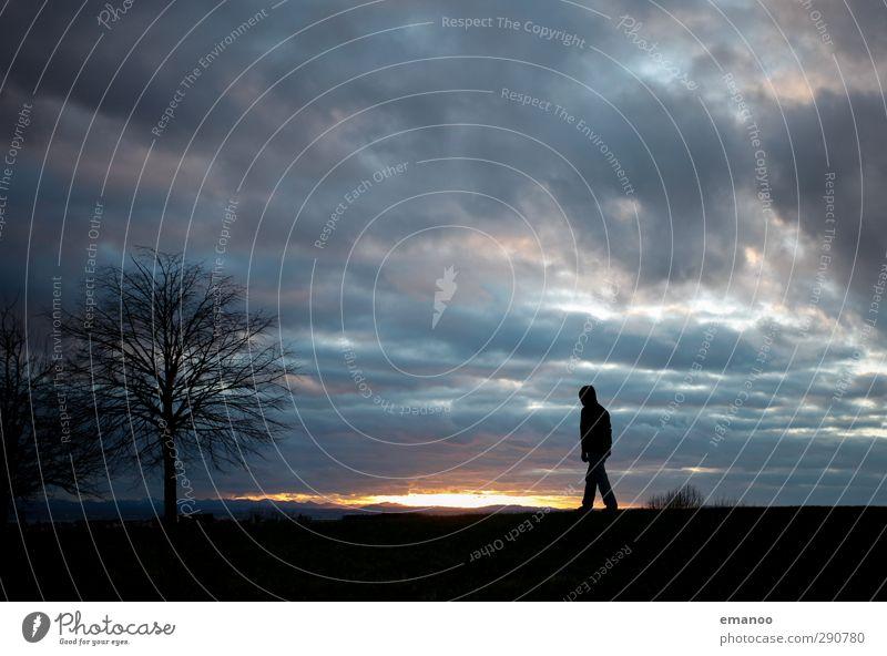 lonely strider Mensch Himmel Natur Mann Ferien & Urlaub & Reisen Baum Sonne Einsamkeit Wolken Landschaft schwarz Erholung Erwachsene dunkel Berge u. Gebirge