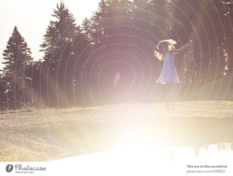 schmetterlinge im bauch Jugendliche Sommer Freude Erholung Wald Junge Frau Leben feminin Gefühle Frühling Glück springen Gesundheit Tanzen Zufriedenheit