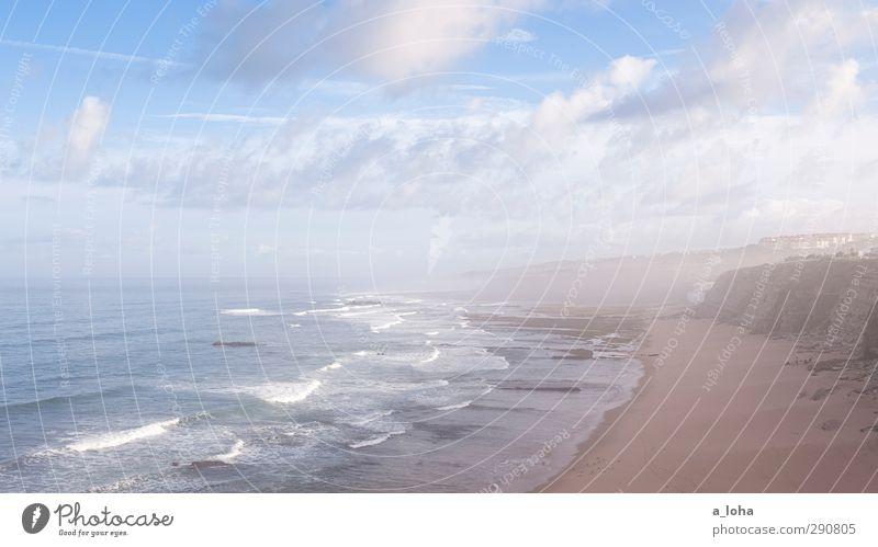 unendliche weite Natur Landschaft Urelemente Erde Sand Wasser Himmel Wolken Horizont Sommer Schönes Wetter Nebel Felsen Wellen Küste Strand Meer ästhetisch