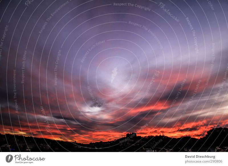 Sunset Himmel blau Ferien & Urlaub & Reisen Stadt schön Sommer rot Winter Wolken schwarz Erholung Berge u. Gebirge Herbst Frühling Horizont orange
