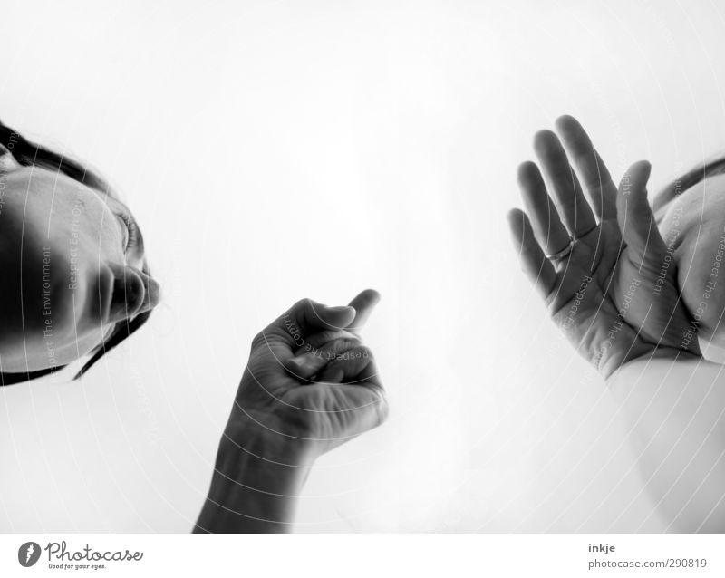 Das hast Du doch mit Absicht gemacht!! Lifestyle sprechen Mensch Frau Erwachsene Freundschaft Paar Leben Gesicht Hand 2 Kommunizieren Aggression Wut Gefühle