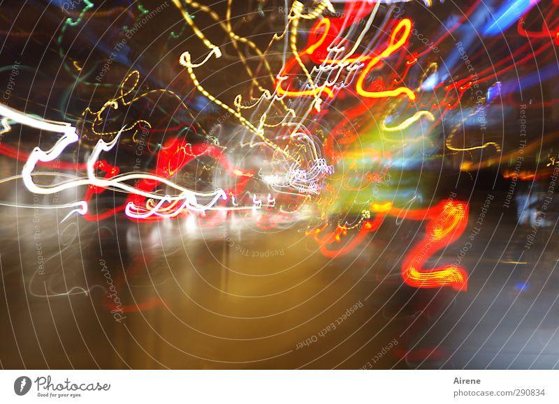 Die Stadt schläft nicht blau weiß rot Farbe gelb Straße Bewegung Linie glänzend Verkehr leuchten Lifestyle Geschwindigkeit Streifen fahren