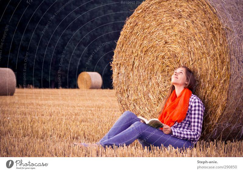 Spätsommerlesen Mensch Kind Jugendliche Sommer Erholung Junge Frau feminin Glück natürlich Feld Zufriedenheit Buch Lächeln frei Idylle 13-18 Jahre