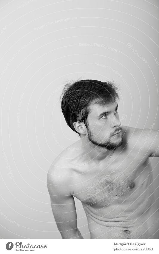 Selbst 1 Mensch maskulin 18-30 Jahre Jugendliche Erwachsene Diät Fitness Sex sportlich authentisch hell dünn schön Erotik grau Kraft Sympathie Freundschaft
