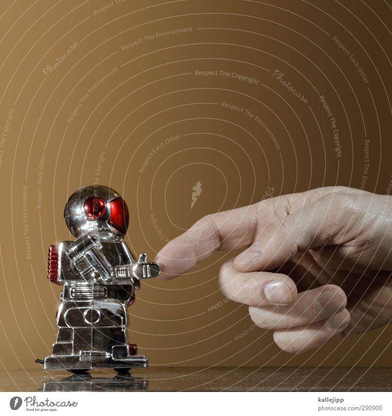 michelangelo 2.0 Mensch Mann Hand Erwachsene Leben Business maskulin Technik & Technologie Zukunft Computer Telekommunikation Finger Industrie berühren Ziel Spielzeug