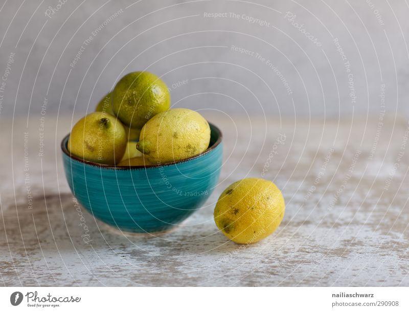 Stilleben mit Zitronen blau schön gelb grau Gesundheit Frucht Lebensmittel frisch Ernährung einfach lecker Stillleben Bioprodukte Schalen & Schüsseln