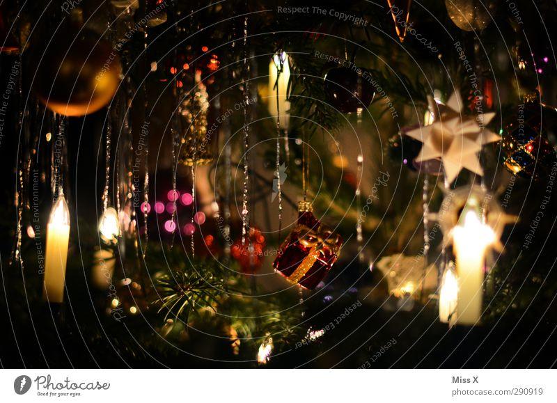 Nostalgie Weihnachten & Advent leuchten glänzend gold Weihnachtsbaum Christbaumkugel Stern (Symbol) Fröbelstern Weihnachtsbeleuchtung Kerze Kerzenschein Lametta