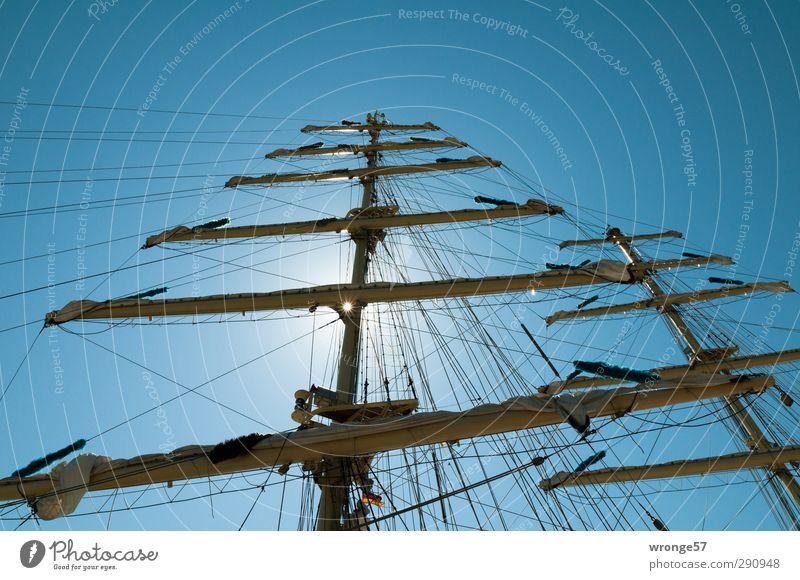Segelpause Himmel Sommer Sonne Meer Wasserfahrzeug Freizeit & Hobby Abenteuer Sehnsucht Segeln Schifffahrt Wolkenloser Himmel Fernweh Mast Segel Expedition Segelschiff
