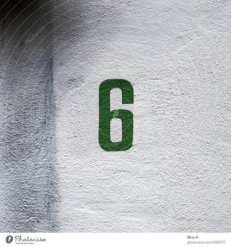6 Zeichen Schriftzeichen Schilder & Markierungen grün einfach gemalt Hausnummer Ziffern & Zahlen Wand Farbfoto
