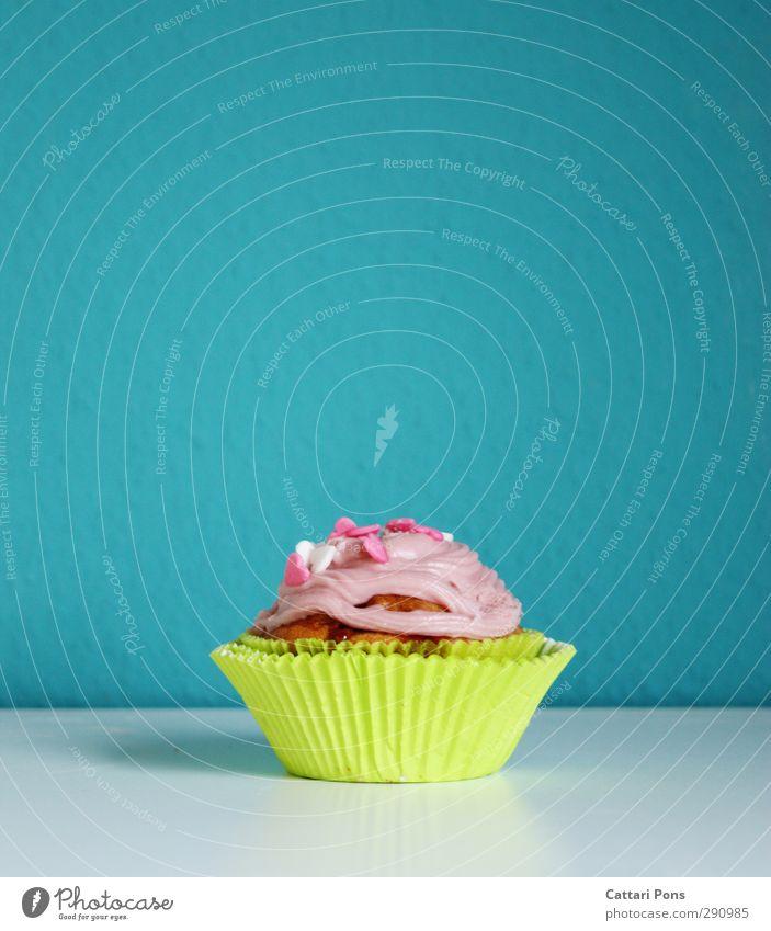 süßes Nichtstun Lebensmittel Teigwaren Backwaren Kuchen Dessert Süßwaren Muffin Cupcake Ernährung Kaffeetrinken Fingerfood klein lecker blau grün rosa weiß Herz