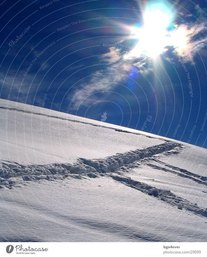 Spuren im Schnee Gegenlicht Berge u. Gebirge Sonne Tourengeheranstieg
