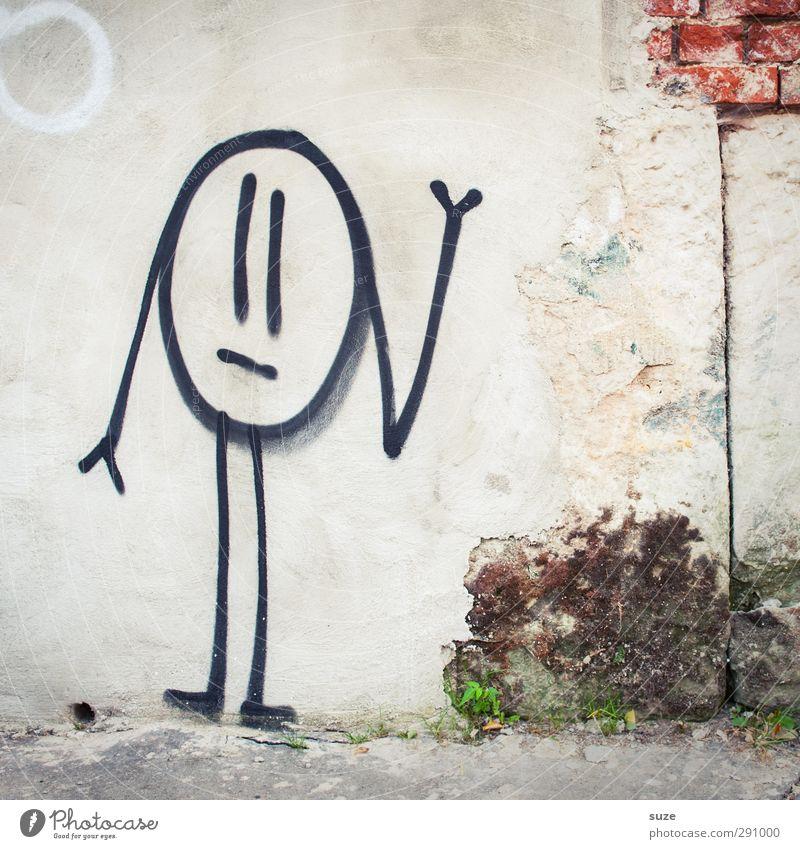 Männekieken Mauer Wand Fassade Backstein Graffiti alt dreckig kaputt lustig niedlich trist grau weiß Traurigkeit Einsamkeit Strichmännchen Schmiererei Putz