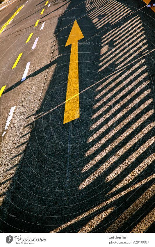 Pfeil nach oben abbiegen Asphalt Ecke Fahrbahnmarkierung Hinweisschild Linie Schilder & Markierungen Navigation Orientierung Richtung Straße Empfehlung