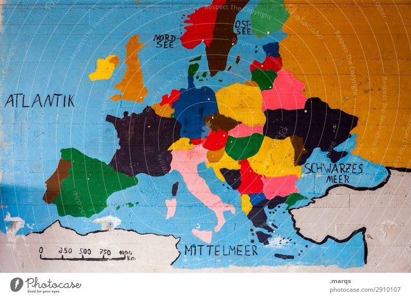 Buntes Europa Bildung Mauer Wand Landkarte mehrfarbig Politik & Staat Geografie Geografische Karten Kontinente Portugal Spanien Frankreich Deutschland