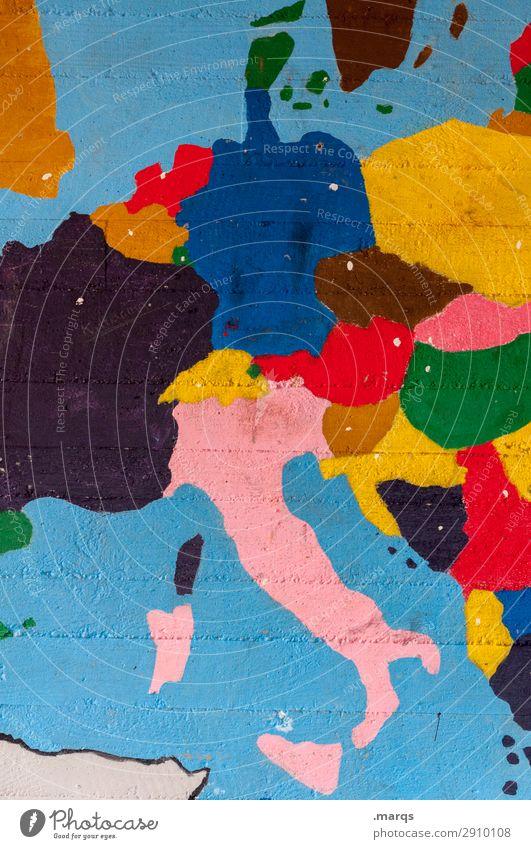 Zentraleuropa Bildung Mauer Wand Landkarte Europa mehrfarbig Politik & Staat Geografie Geografische Karten Deutschland Italien Frankreich Niederlande Schweiz