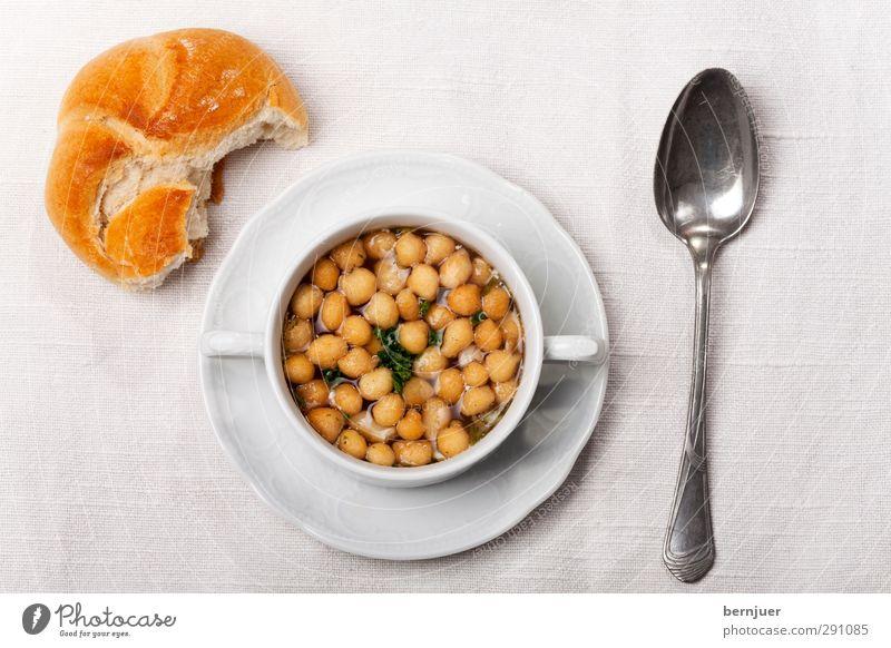 Auskerben Wärme Lebensmittel authentisch Ernährung einfach gut Foodfotografie Geschirr Teller Brötchen Tischwäsche Löffel Billig Suppe rustikal Leinen