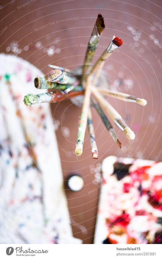 Pinsel Atelier rot Innenarchitektur Kunst Freizeit & Hobby Design stehen Dekoration & Verzierung Dinge lernen Studium Gemälde Umzug (Wohnungswechsel) Beruf