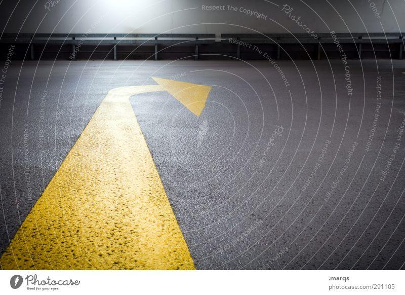 Weisung gelb dunkel Straße Bewegung Wege & Pfade grau Stil Erfolg Schilder & Markierungen Verkehr Perspektive Zukunft Hoffnung einfach Sauberkeit Zeichen