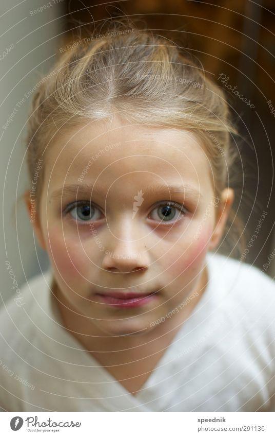 Blick in die Kamera Mensch Kind Mädchen ruhig Gesicht feminin Haare & Frisuren Kopf hell Kindheit blond Haut Kraft elegant Erfolg niedlich