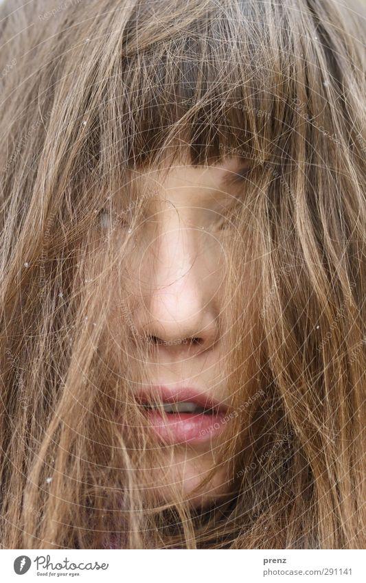 Trance Mensch feminin Junge Frau Jugendliche Erwachsene Kopf Haare & Frisuren Gesicht 1 18-30 Jahre braun Mund offen träumen Farbfoto Außenaufnahme Tag