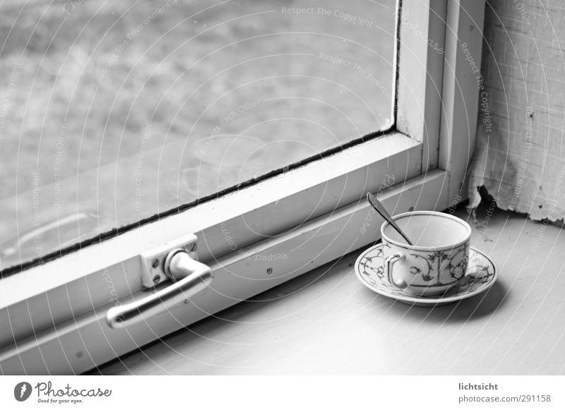 Landleben Kaffeetrinken Heißgetränk Tee Teller Tasse Löffel Dorf Fenster alt Nostalgie Fensterscheibe Griff Verglasung Tapete Tapetenwechsel Fensterbrett