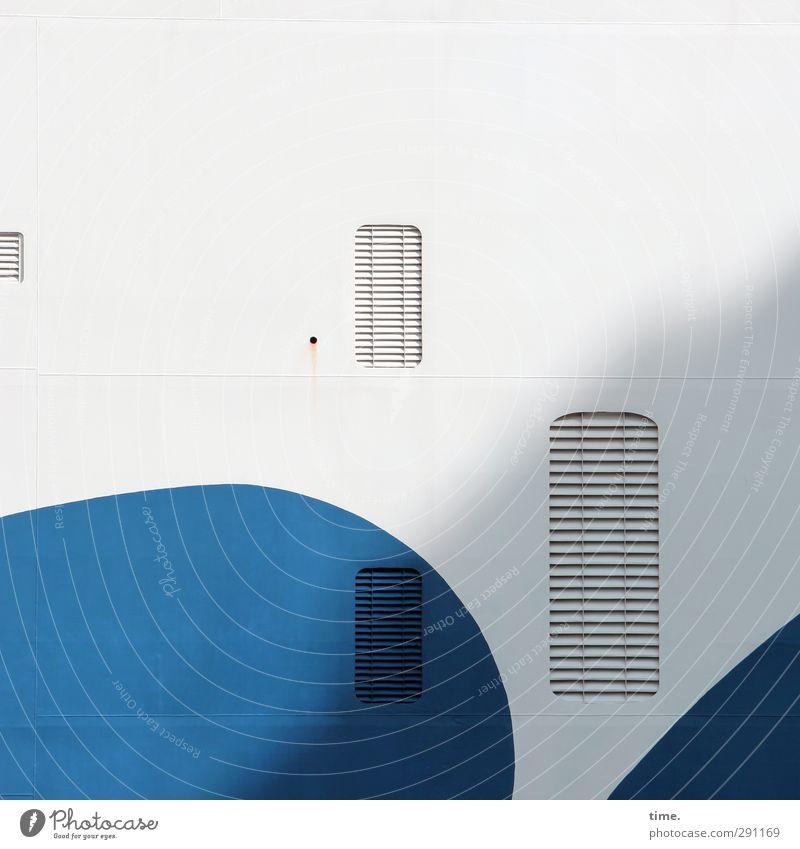 Mittagsschläfchen blau weiß Farbe Wand Mauer Metall außergewöhnlich Fassade geschlossen Verkehr Ordnung modern ästhetisch planen Grafik u. Illustration