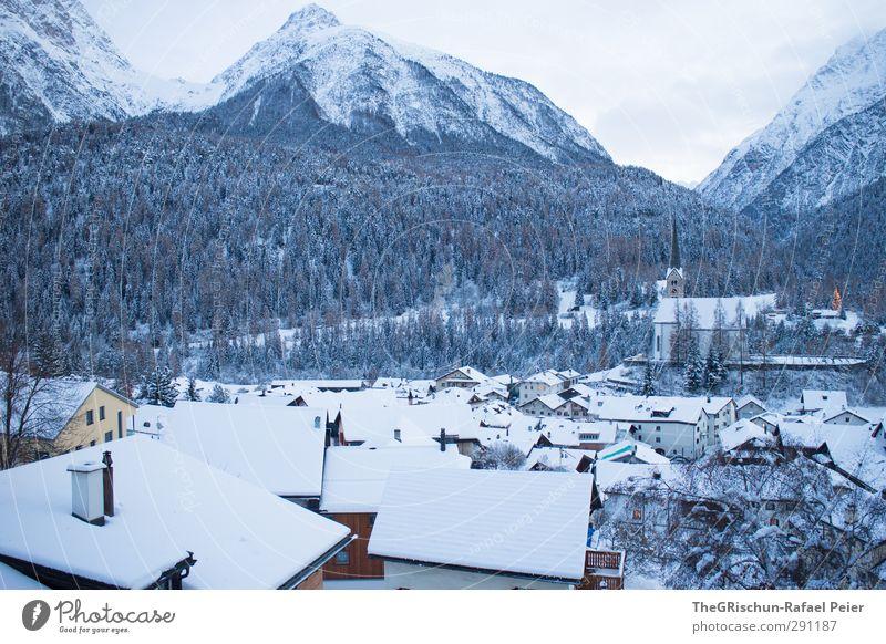 Schellenurslidorf im Winter Landschaft Haus Einfamilienhaus Kirche braun gold grau grün schwarz weiß Dorf Schnee Dach bewohnt Bergen Turm Baum Wald