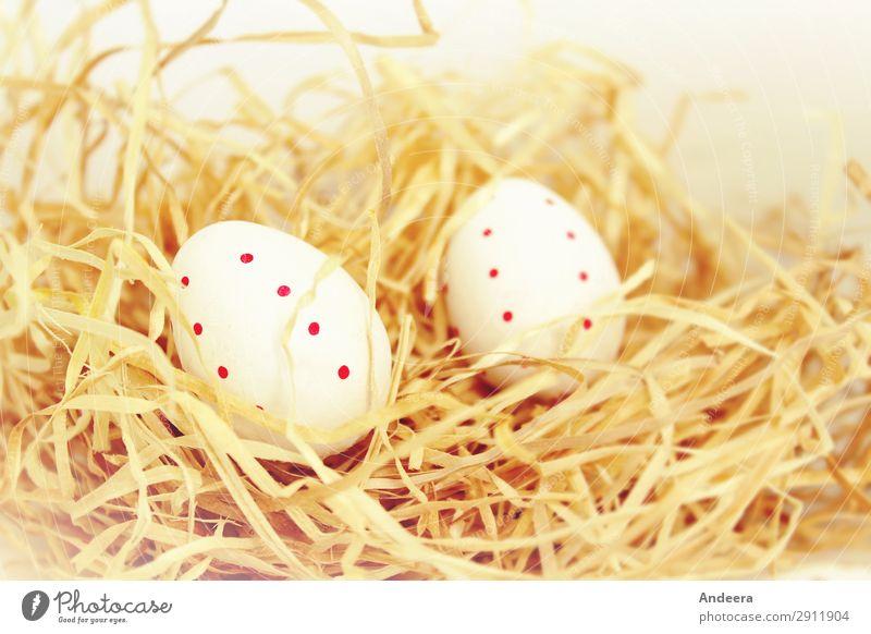 Zwei weiße Ostereier mit roten Punkten im Stroh Ostern Frühling Dekoration & Verzierung Religion & Glaube hell beige Pastellton Ei gepunktet liegen ruhig