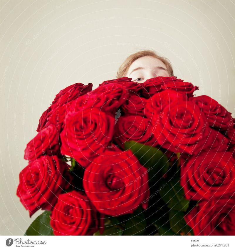 Mamma Mia! Mensch Jugendliche schön rot Blume Liebe feminin Glück Kopf Feste & Feiern Geburtstag Lifestyle Hochzeit Geschenk Romantik Rose