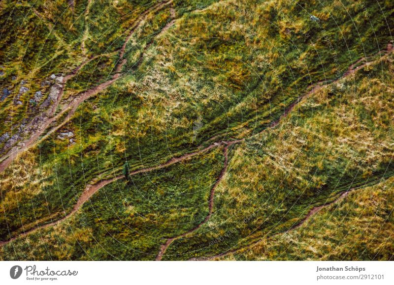 Vogelperspektive auf Wanderwege bei Edinburgh, Schottland Ferien & Urlaub & Reisen Natur grün Landschaft Reisefotografie Hintergrundbild Wege & Pfade Wiese