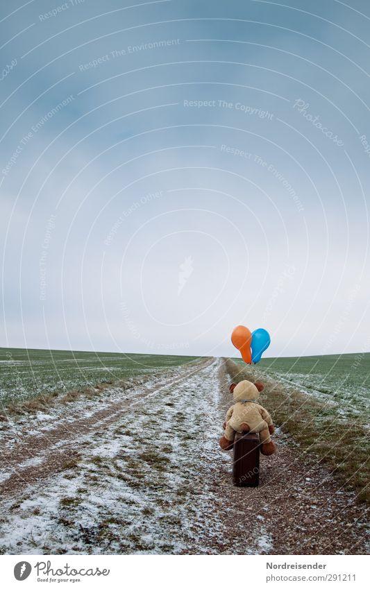 Ein weiter Weg.... Sinnesorgane ruhig Puppentheater Landschaft Wolken Winter schlechtes Wetter Eis Frost Feld Straße Wege & Pfade Koffer Spielzeug Teddybär