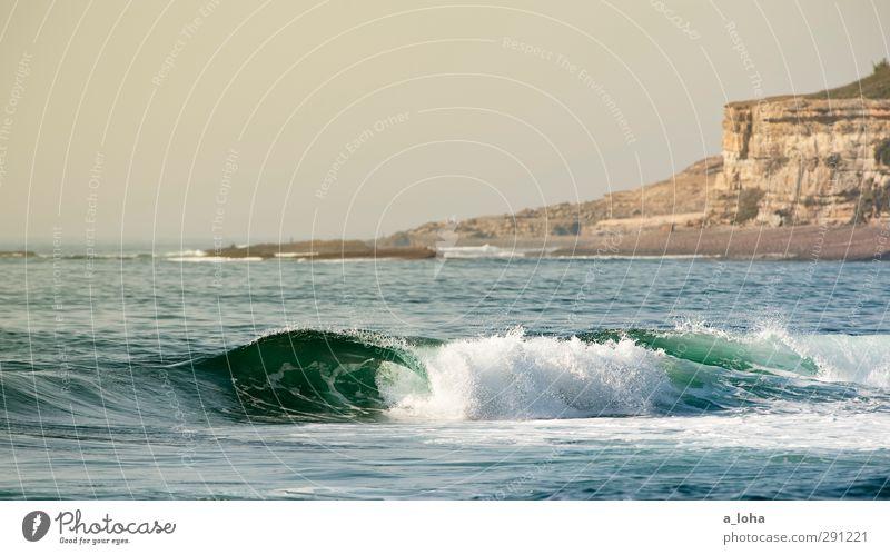 ocean l.o.v.e. Umwelt Natur Landschaft Urelemente Wasser Wolkenloser Himmel Horizont Sommer Wetter Schönes Wetter Felsen Wellen Küste Meer natürlich blau braun