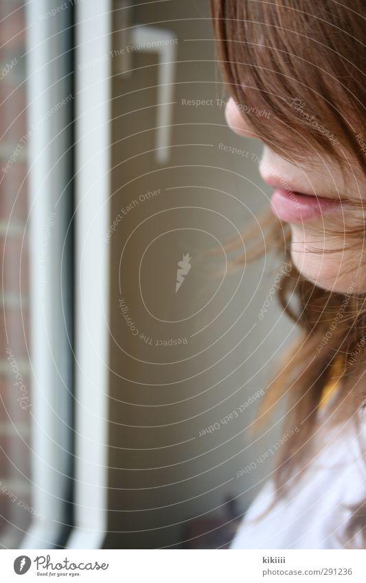 Sehen Mädchen Gesicht Fenster Haare & Frisuren Glas Mund Nase Lippen Backstein Griff