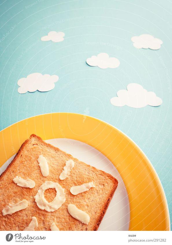 Toast Hawaii Lebensmittel Ernährung Frühstück Picknick Bioprodukte Vegetarische Ernährung Teller Stil Design Gesundheit Gesunde Ernährung Sonne Himmel Wolken