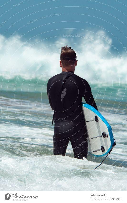 #A# Lernen 1 Mensch ästhetisch Meer Wellen Wellengang Surfen Surfer Surfbrett Surfschule Fuerteventura Farbfoto mehrfarbig Außenaufnahme Detailaufnahme