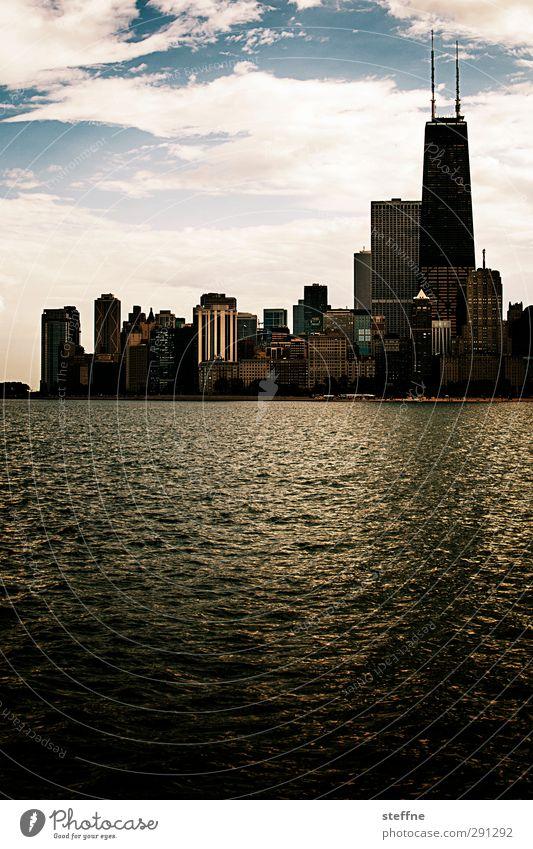 Northern Downtown Chicago Himmel Stadt See außergewöhnlich Hochhaus Schönes Wetter ästhetisch USA Skyline Wahrzeichen Chicago Michigan See