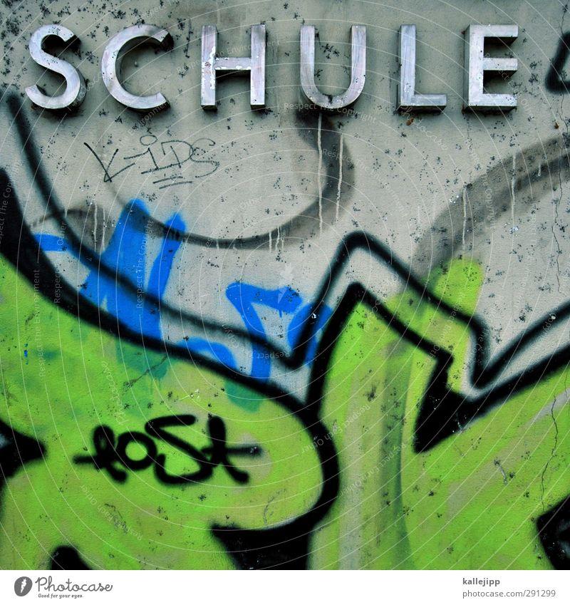 fremdwort Kindererziehung Bildung Schule lernen Schulgebäude Stein Beton Schriftzeichen Graffiti modern Stadt PISA-Studie Subkultur Farbfoto mehrfarbig