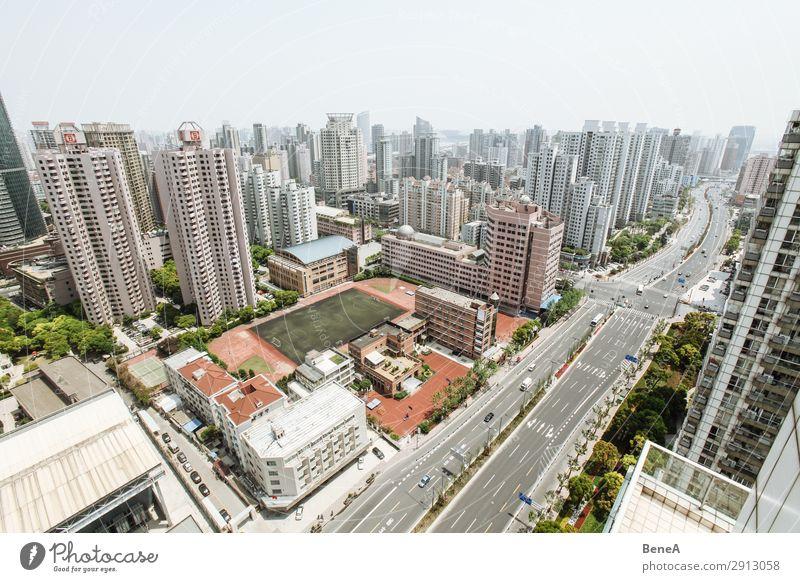 Neubauviertel in Schanghai, China Ferien & Urlaub & Reisen Stadt Straße Architektur Leben Gebäude Häusliches Leben modern Hochhaus Wachstum Zukunft groß Skyline