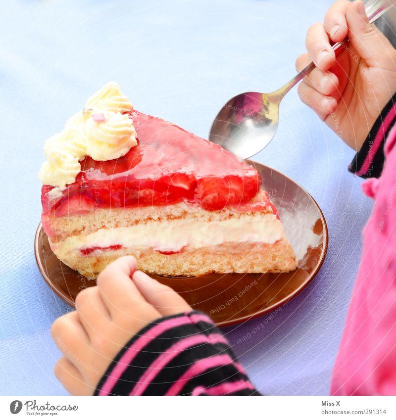 Happy Birthday in pink Mensch Kind Hand rot Feste & Feiern rosa Kindheit Lebensmittel Geburtstag groß Ernährung süß Kleinkind lecker Kuchen Backwaren