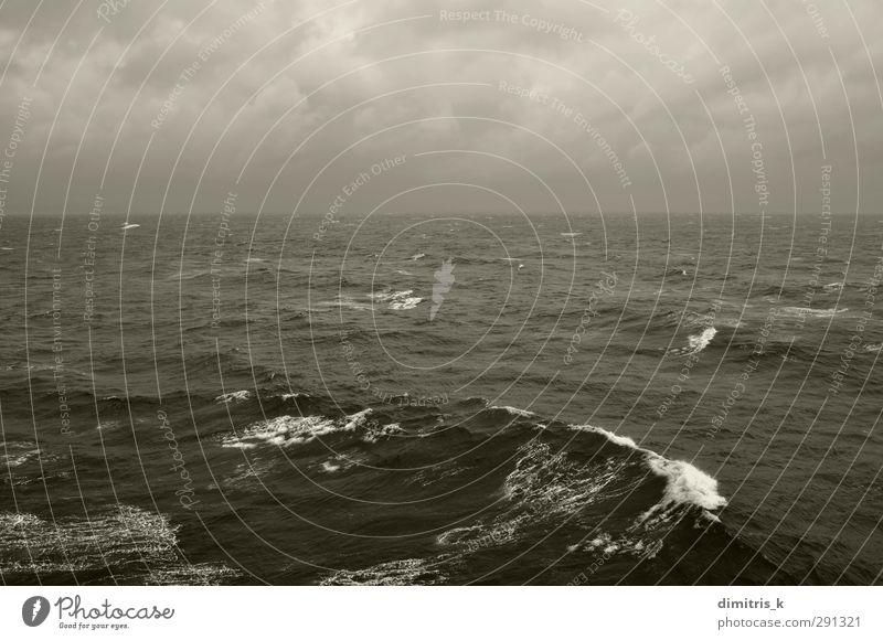 Winter Meereswellen und bewölkter Himmelshorizont Wellen Natur Landschaft Wolken Horizont Wetter Unwetter Wind Nebel Regen Küste dunkel grau schwarz rastlos