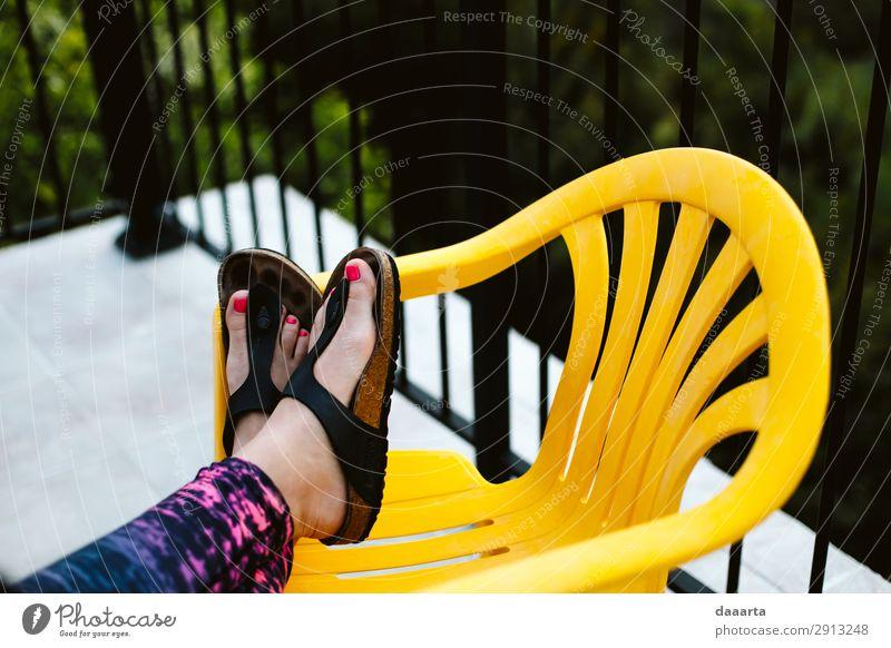 Sonnenuntergang entspannen elegant Stil Design Freude Pediküre Leben harmonisch Freizeit & Hobby Ferien & Urlaub & Reisen Abenteuer Freiheit Sommer Sommerurlaub